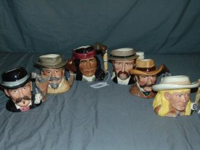 Royal Doulton Wild West Toby Mugs. Lot Of 6.