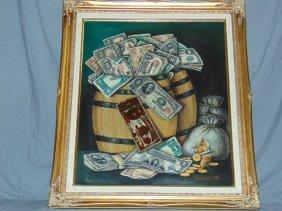 """Otto Meyers, Oil On Canvas """"cash Bucket"""""""