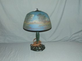 Moe Bridges Reverse Painted Table Lamp