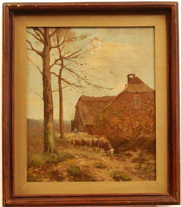 1001: OIL ON CANVAS SHEEPS GRAZING ANDRIES VERLER