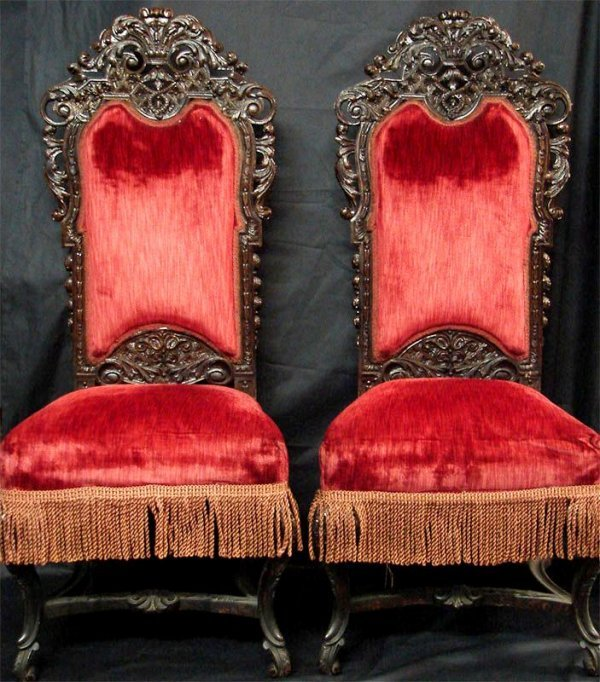1006: 19TH CENTURY PAIR OF RED VELVET CARVED CHAIRS