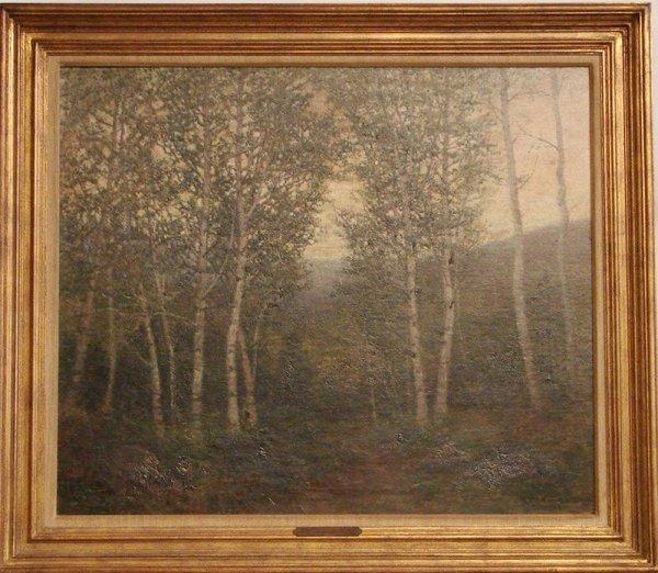 1010: OIL ON CANVAS BIRCH TREES ROBERT BOSKERCK
