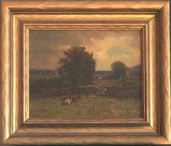 """1015: OIL ON CANVAS """"COWS AT REST"""" EDWARD B. GAY"""