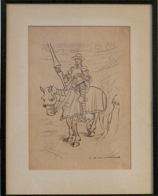 1021: PEN AND INK SIGNED CHARLES RAYMOND MACAULEY