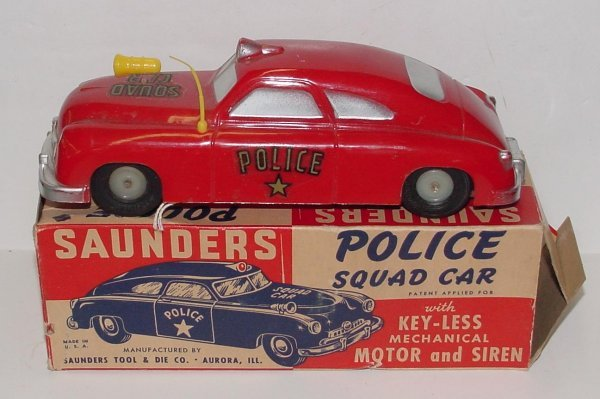 2005: SAUNDERS. POLICE SQUAD CAR. BOXED. RED PLASTIC FR