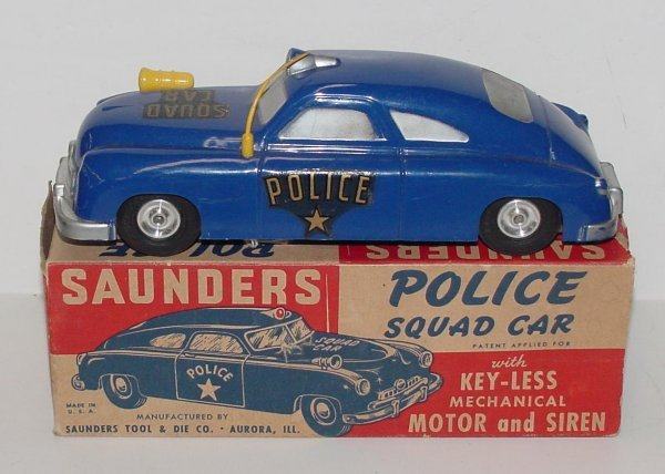 2006: SAUNDERS. POLICE SQUAD CAR. BOXED. BLUE PLASTIC F
