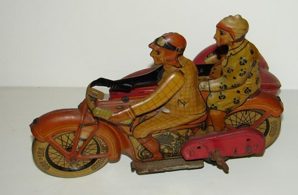 2277: TIPP CO WIND UP MOTORCYCLE TIN TOY LOT CONSISTS O