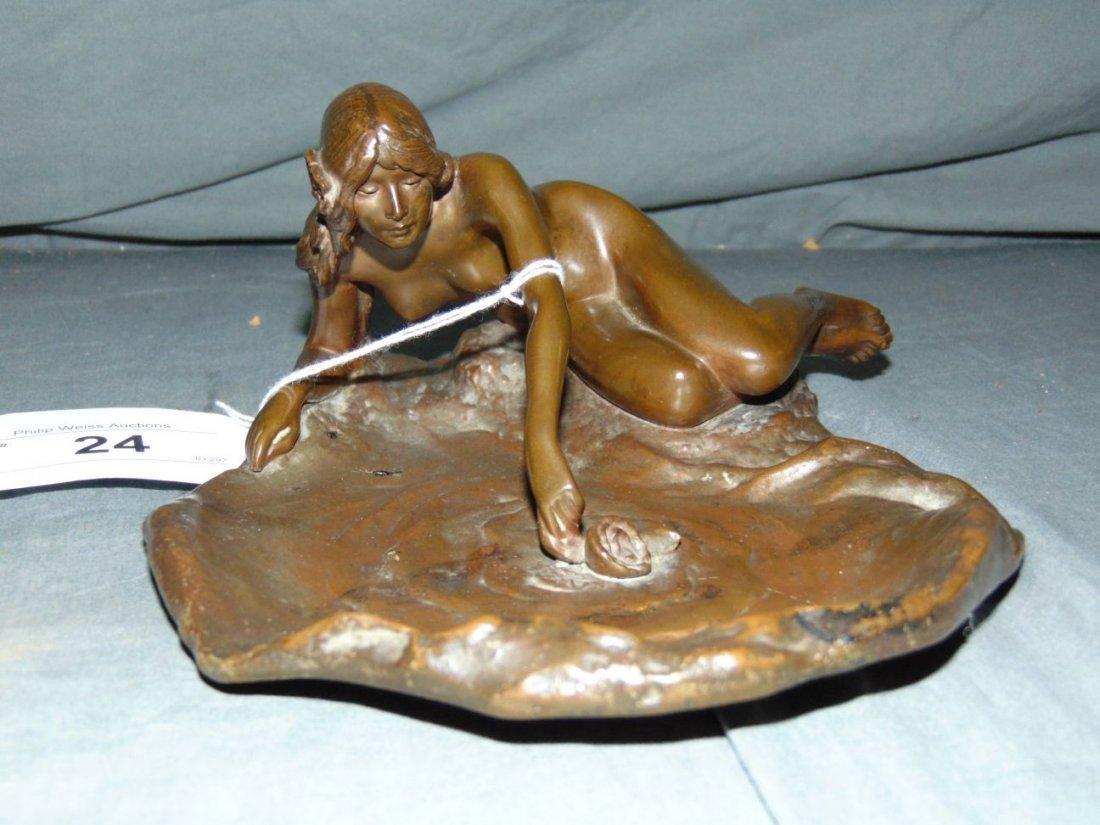 Art Nouveau Bronze Ashtray, Signed Markuse