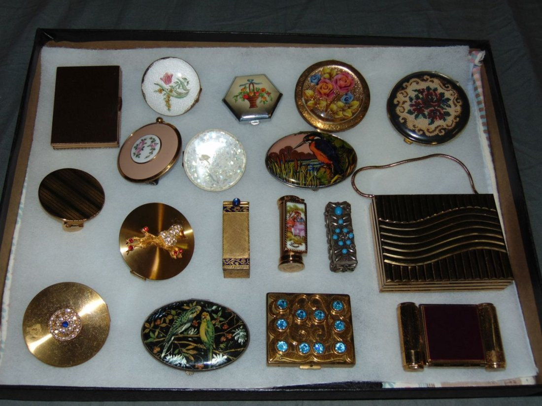 Tray Lot of Vintage Compacts and Lipstick Holders