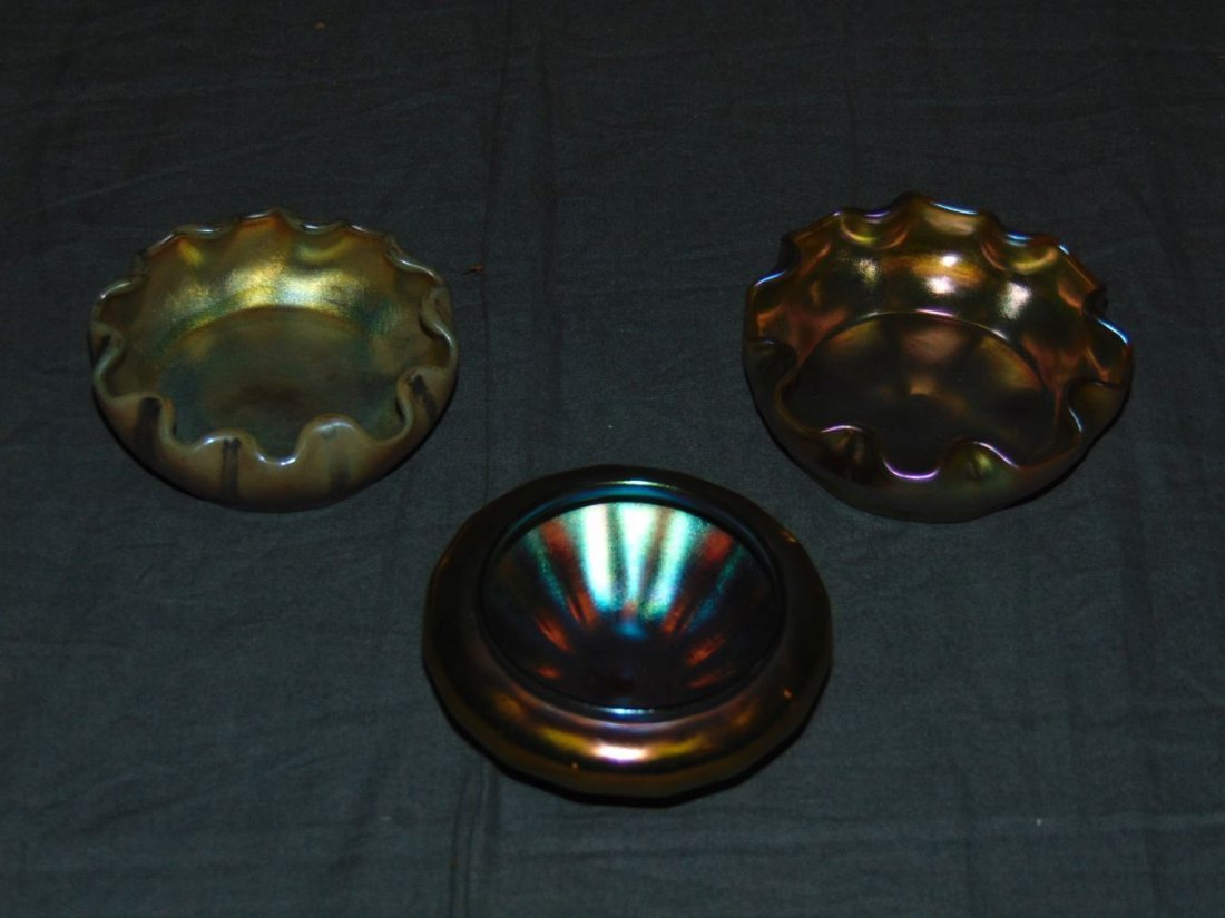 Lot of Three Art Glass Salt Cellars.