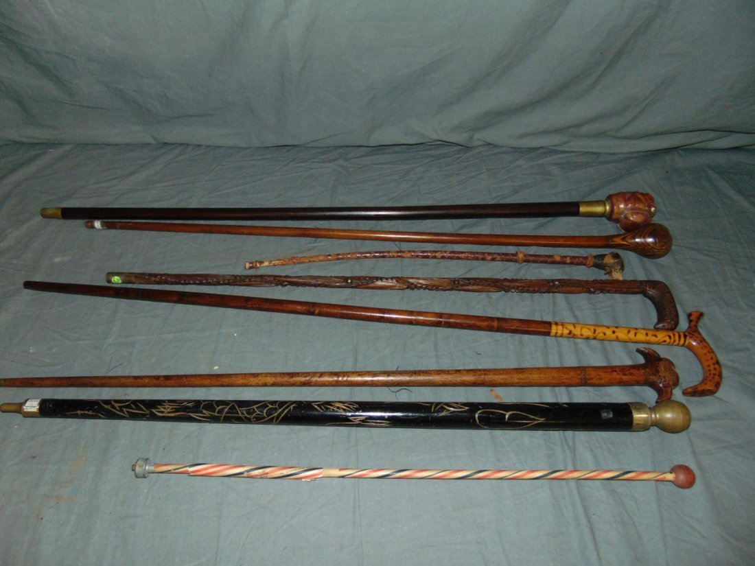Lot of Canes, Walking Sticks or Batons.
