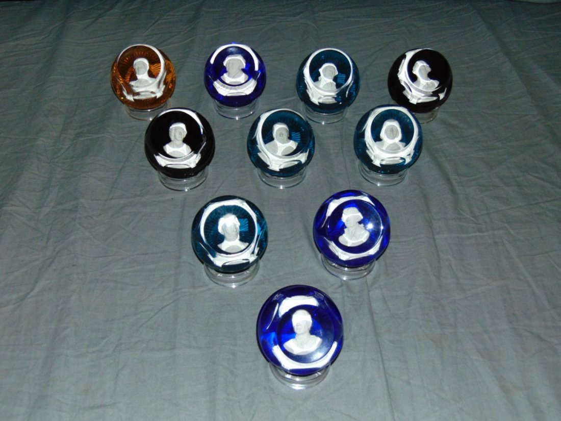 Baccarat Sulphide Paperweights. Lot of 10.
