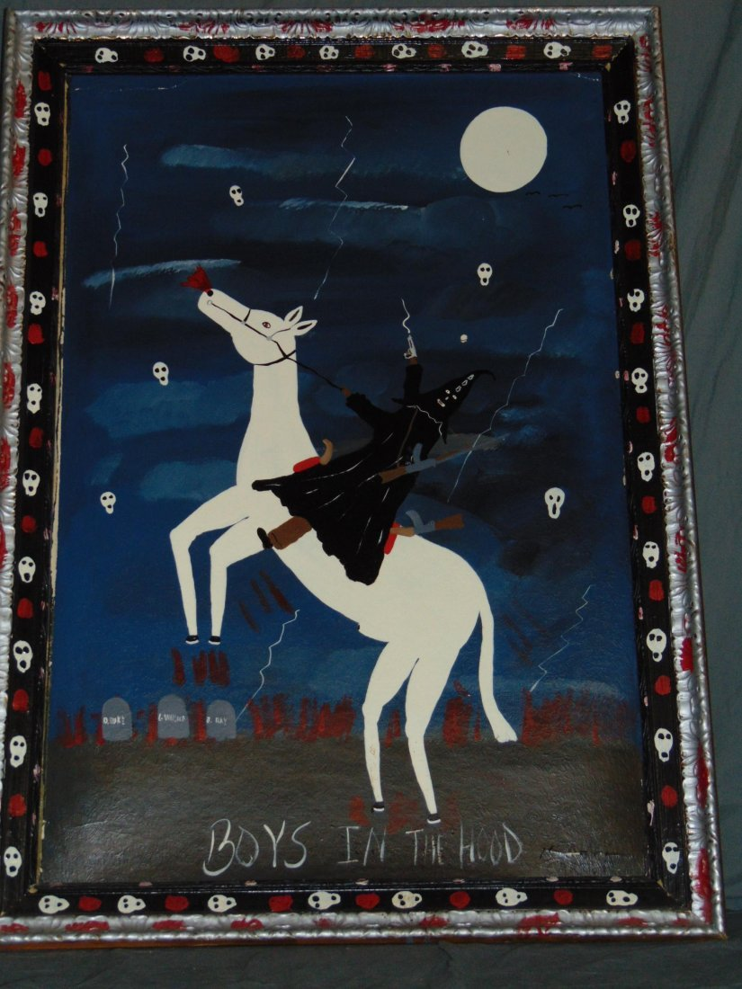"Benny Carter, Folk Art Painting ""Boys in The Hood"""