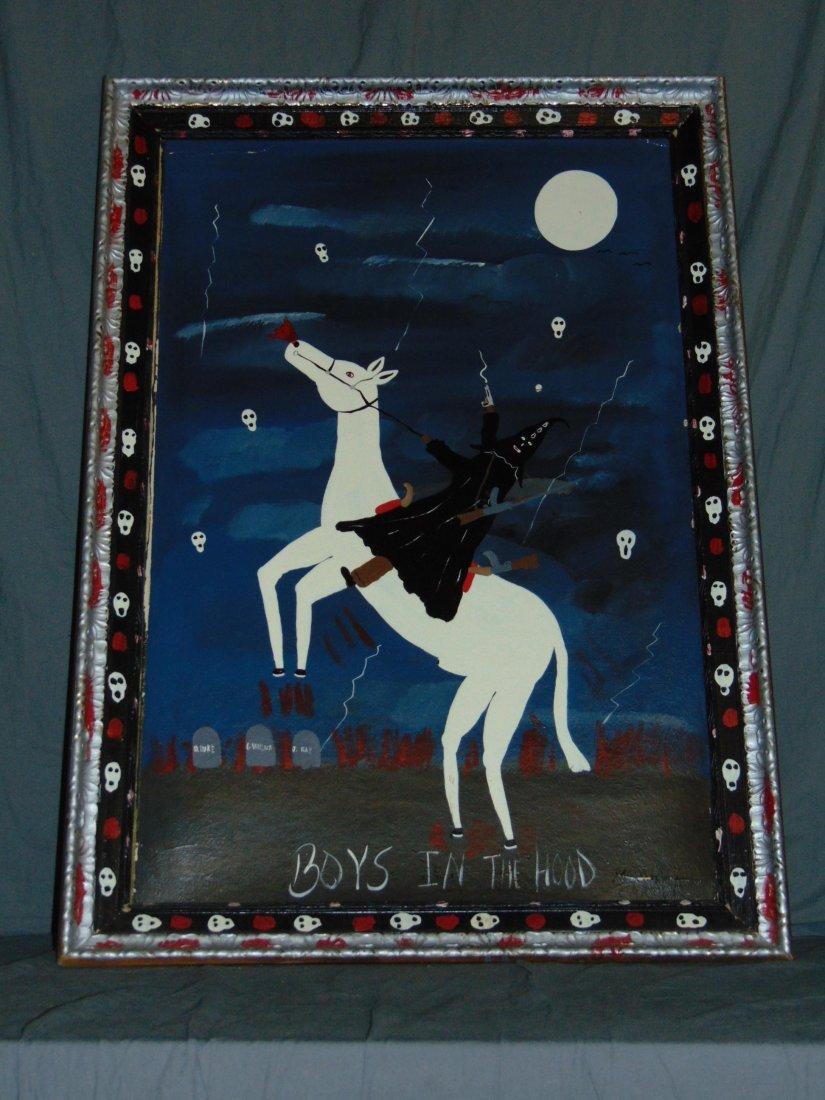 "Benny Carter, Folk Art Painting ""Boys in The Hood"" - 5"