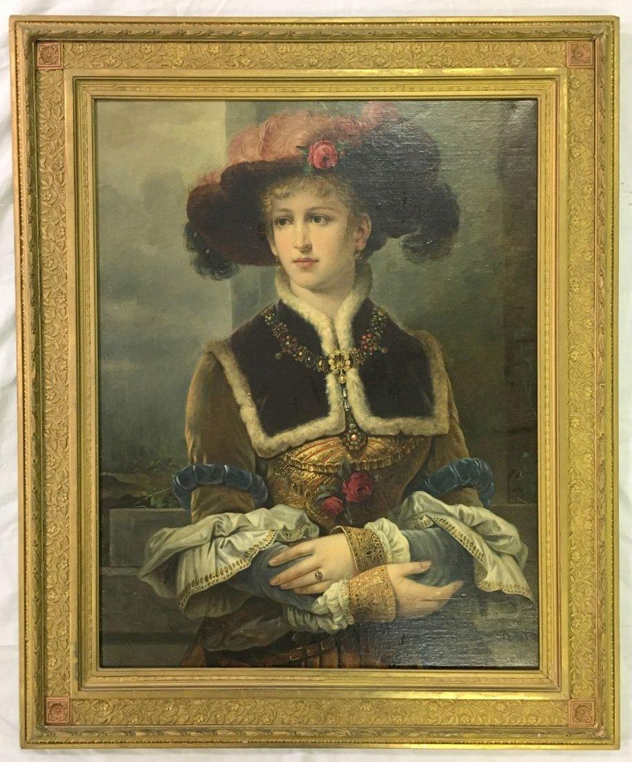 Oil on Canvas. Late 19th Century Portrait.