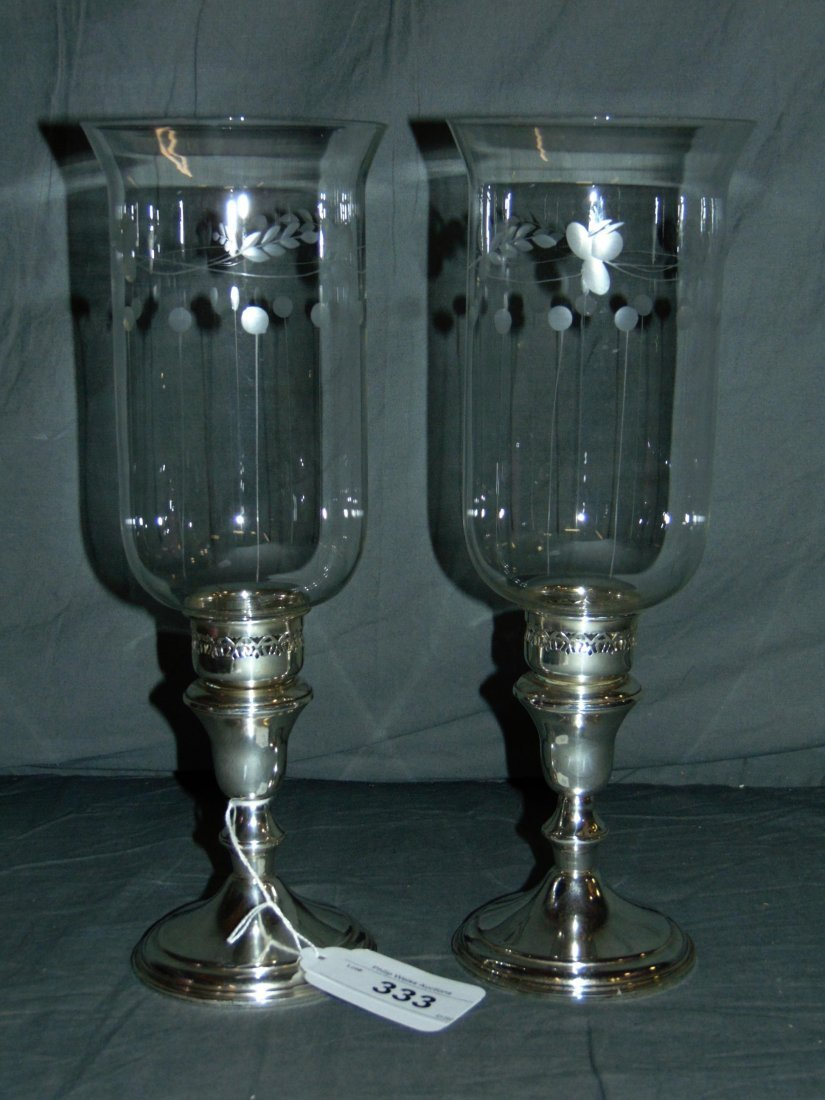Pair of Sterling Silver Weighted Candlesticks - 2