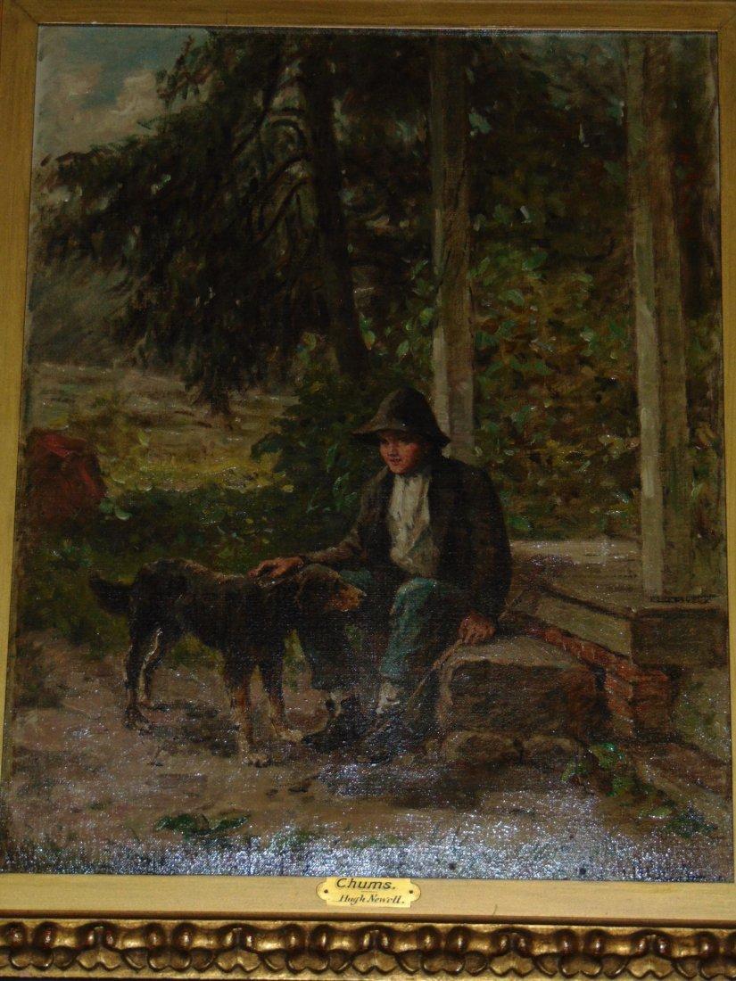Hugh Newell Oil on Canvas, Boy with Dog