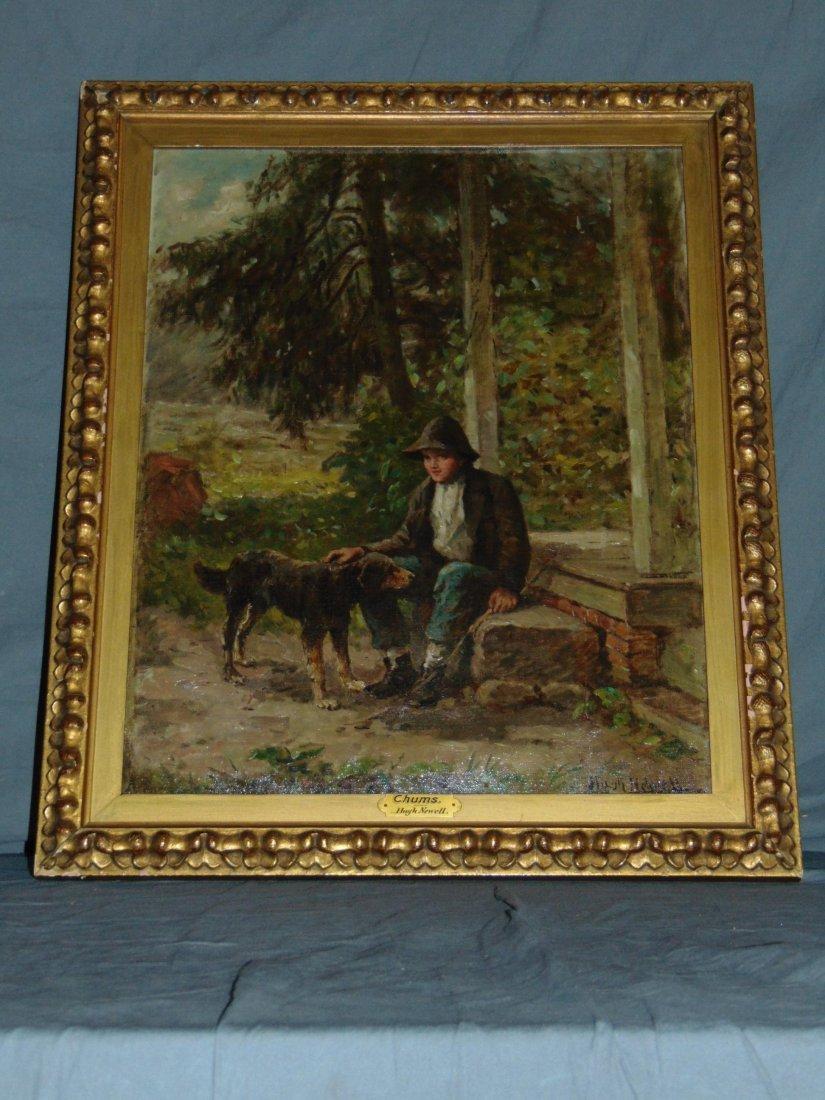 Hugh Newell Oil on Canvas, Boy with Dog - 6