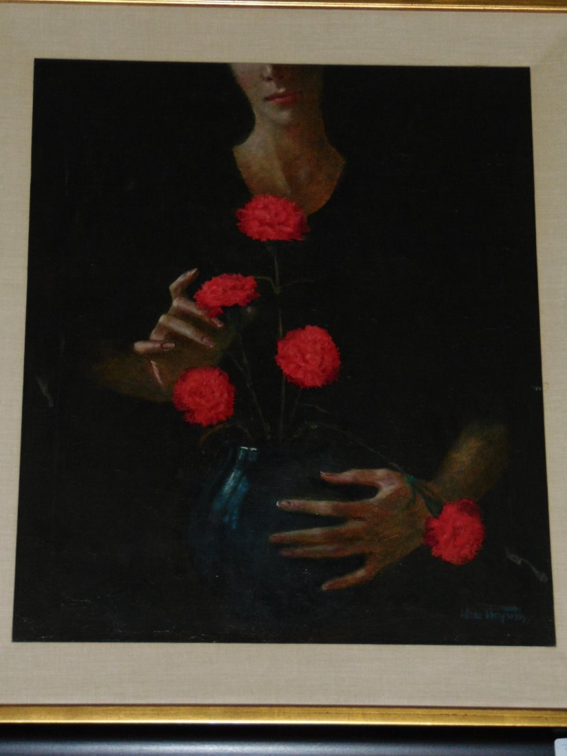 Wade Reynolds, Oil on Canvas, Woman with Flowers