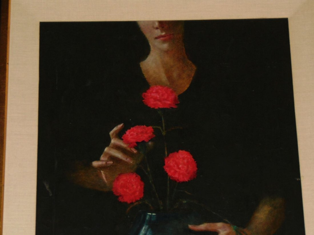 Wade Reynolds, Oil on Canvas, Woman with Flowers - 2
