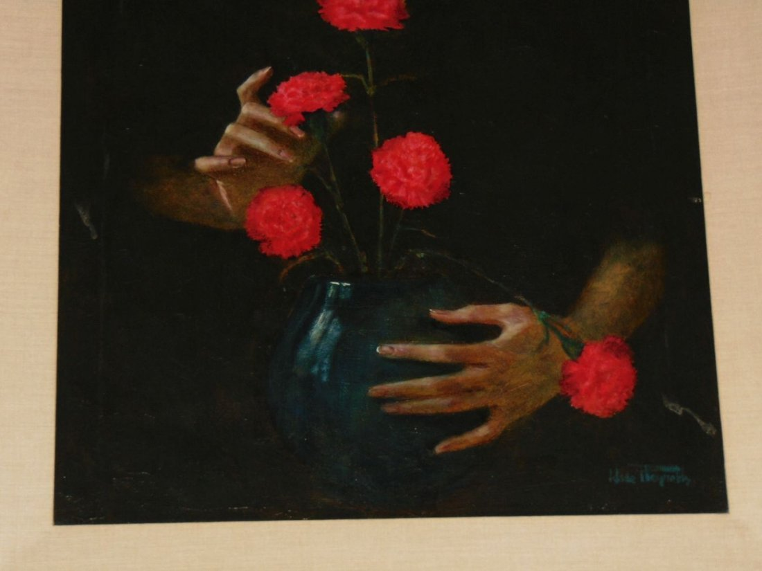 Wade Reynolds, Oil on Canvas, Woman with Flowers - 3