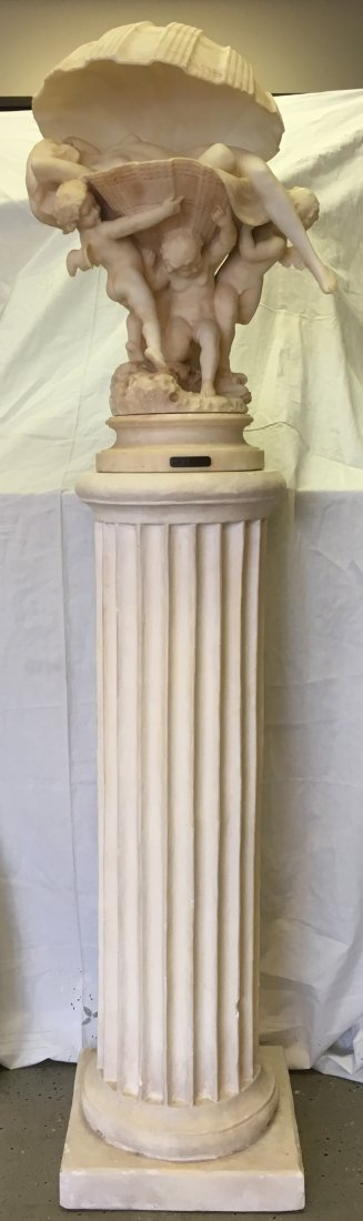 Eugenio Pattarino Alabaster Statue with Pedestal - 2