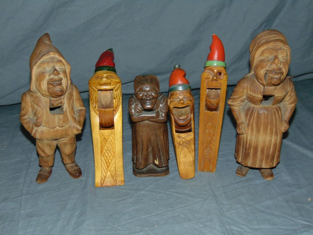 Wood Carved Nut Crackers.