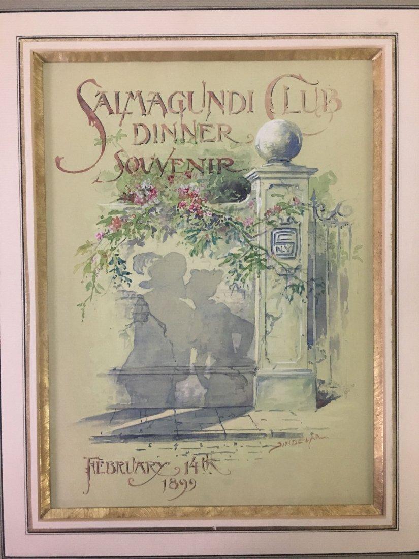 Thomas Sindelar, Orig Salmagundi Club Menu Artwork - 2