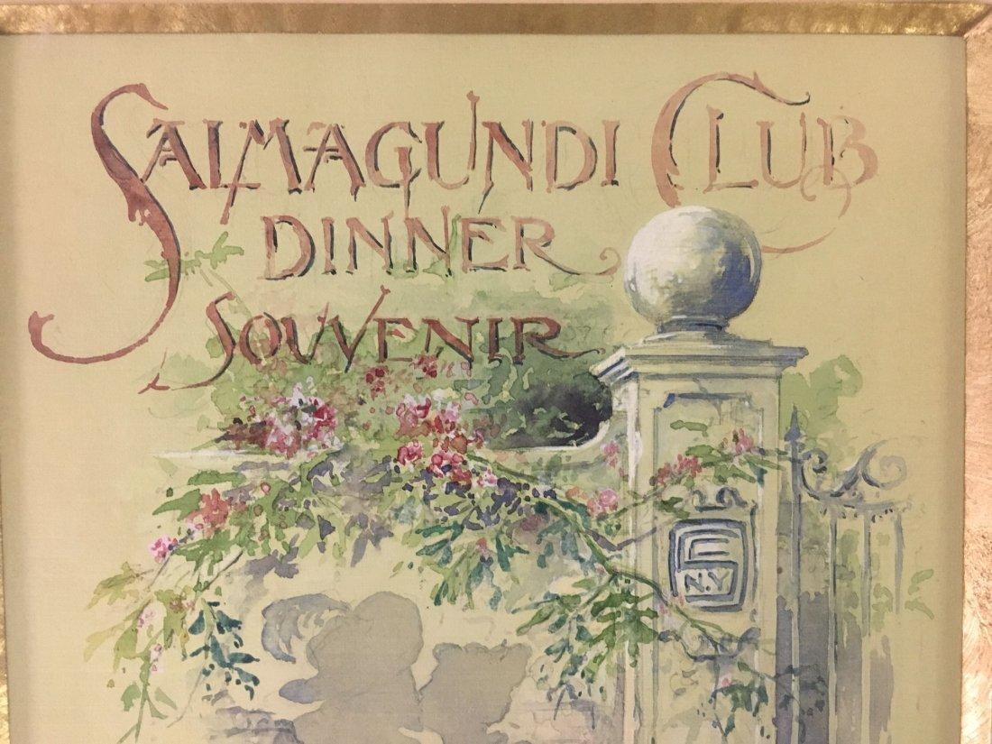 Thomas Sindelar, Orig Salmagundi Club Menu Artwork - 3