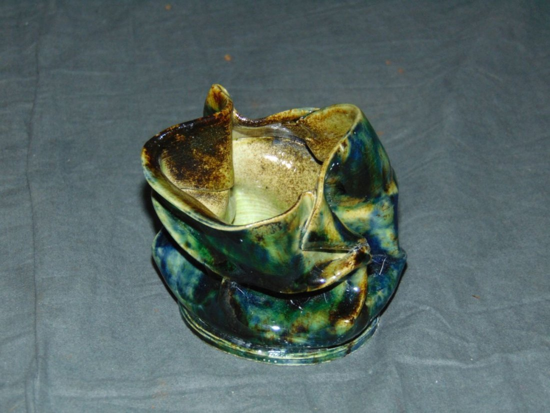 George Ohr Glazed Crimped Vessel