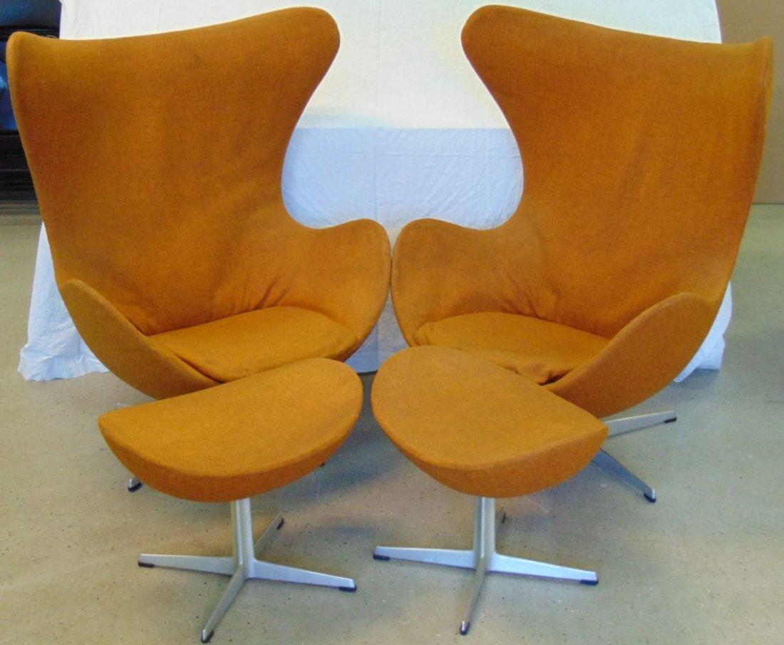 Vtg Pair of Arne Jacobsen Egg Chairs & Ottomans