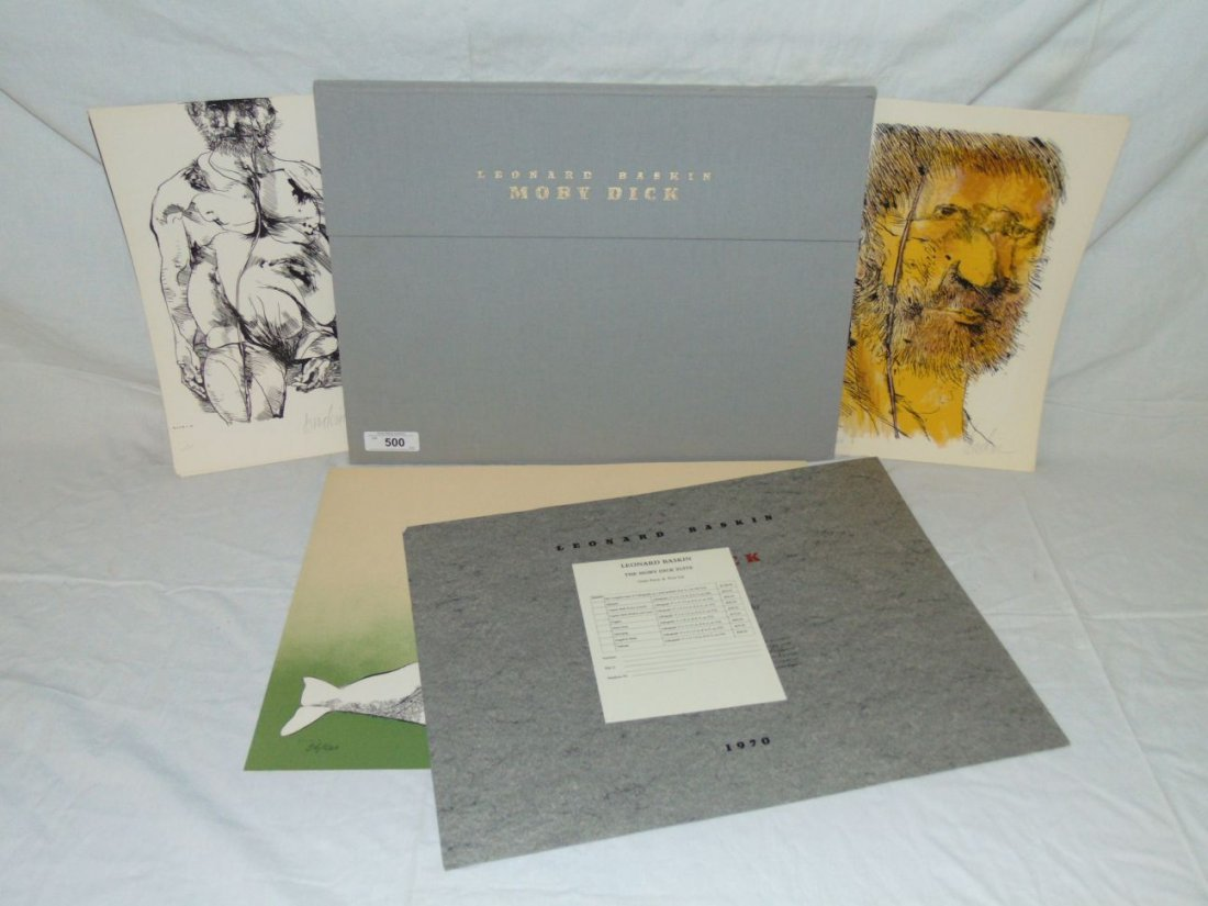 Leonard Baskin, Signed Moby Dick Suite 8 Lithos
