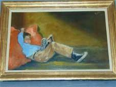 """Oil on Board, """"Boy Reclining"""", Artist Signed"""