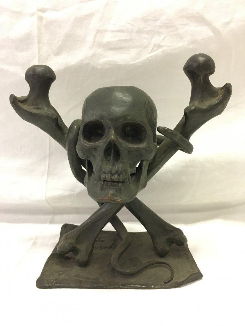 Bronze Skull and Cross Bones Ink Well.