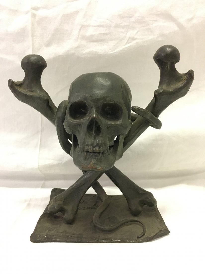 Bronze Skull and Cross Bones Ink Well.