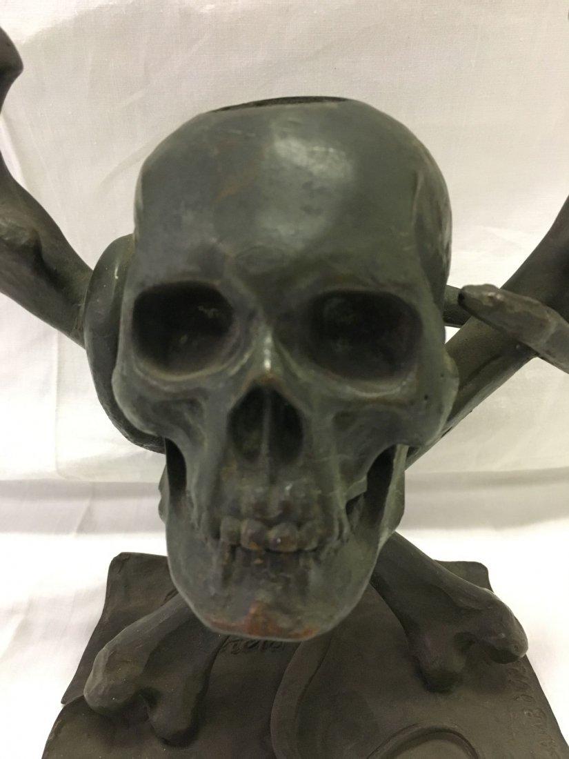Bronze Skull and Cross Bones Ink Well. - 2