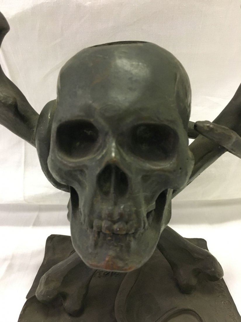 Bronze Skull and Cross Bones Ink Well. - 2