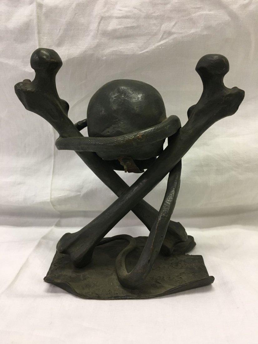 Bronze Skull and Cross Bones Ink Well. - 3