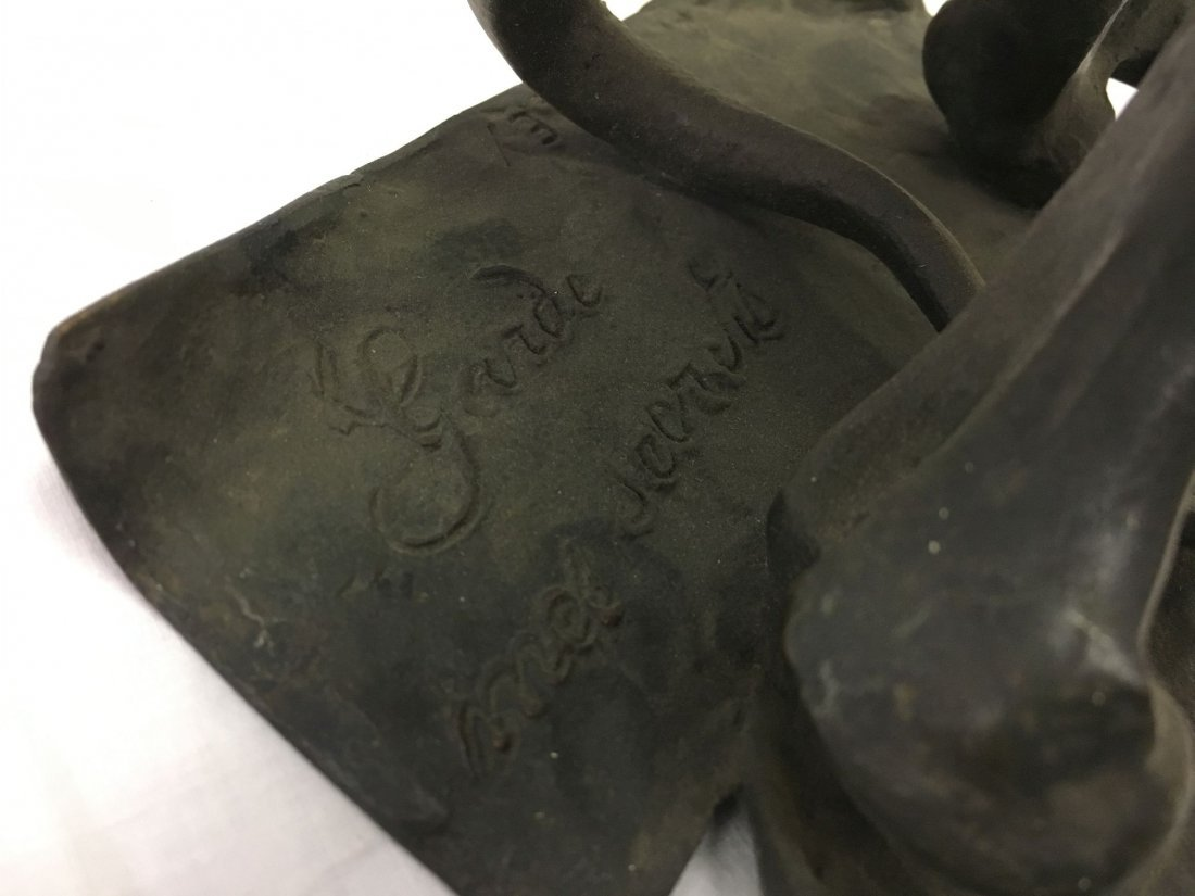 Bronze Skull and Cross Bones Ink Well. - 5