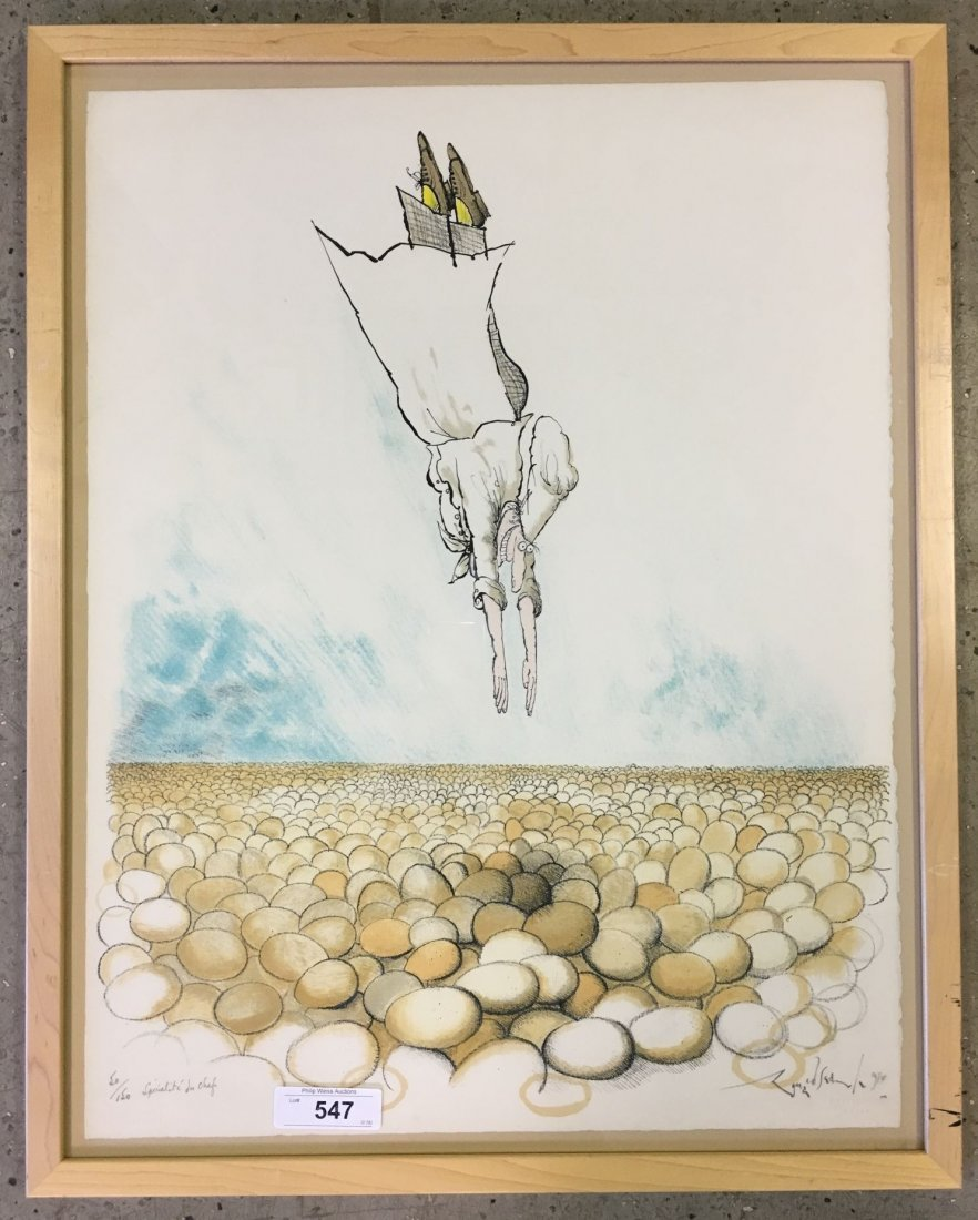 """Ronald Searle Signed Lithograph """"Specialite Chef"""""""