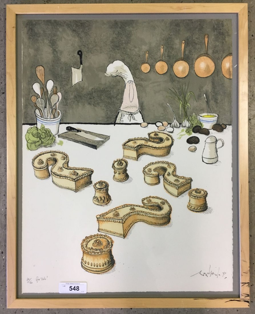 """Ronald Searle Signed Lithograph """"Quo Vadis?"""""""