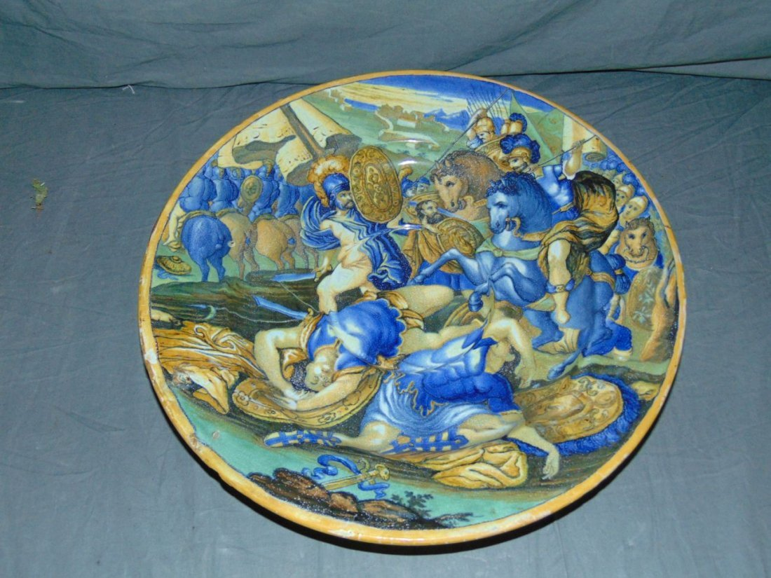 Early Majolica Hand Painted Charger