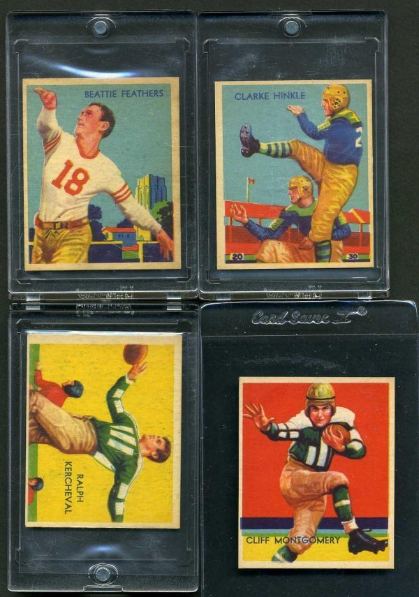 5: 1935 CHICLE FOOTBALL LOT OF4.