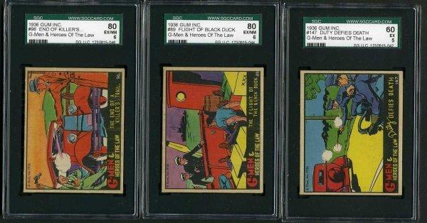 13: G-MEN 1936 GUM INC. CARD LOT OF 3.