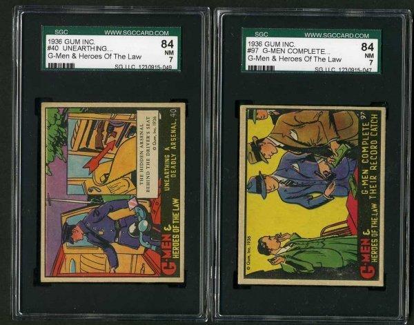 15: G-MEN 1936 GUM INC. CARD LOT OF 2.
