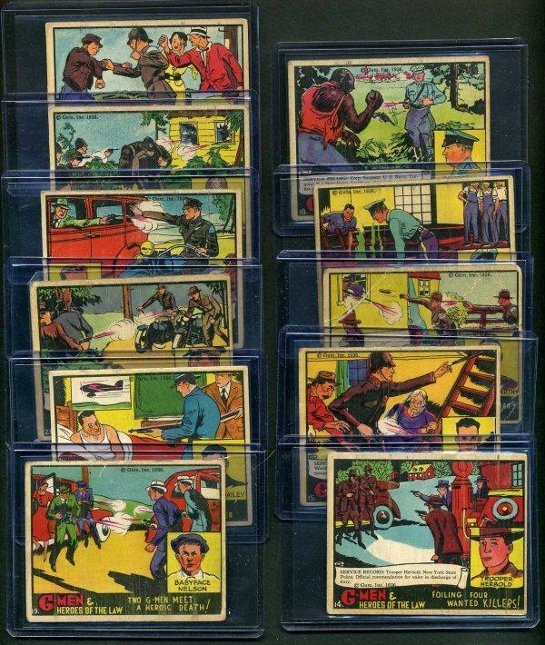 19: G-MEN 1936 GUM INC. LOT OF 11 CARDS.