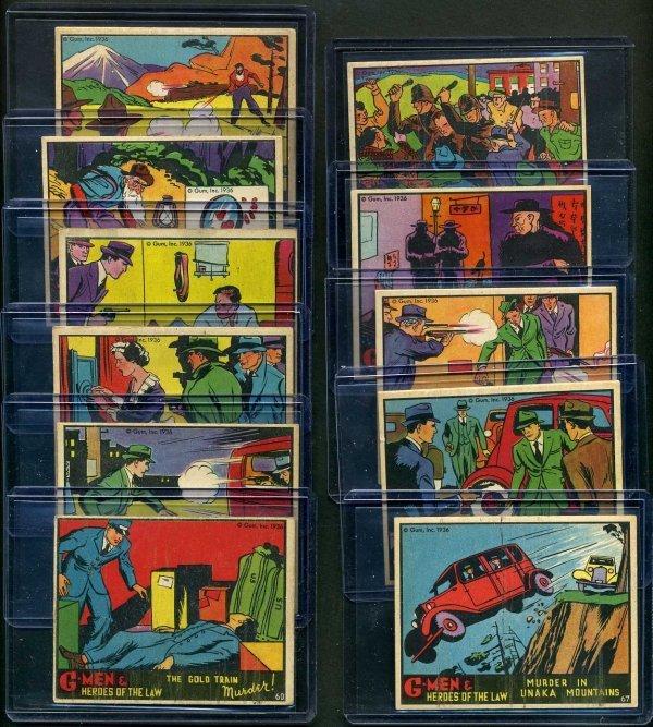 21: G-MEN 1936 GUM INC. LOT OF 11 CARDS.