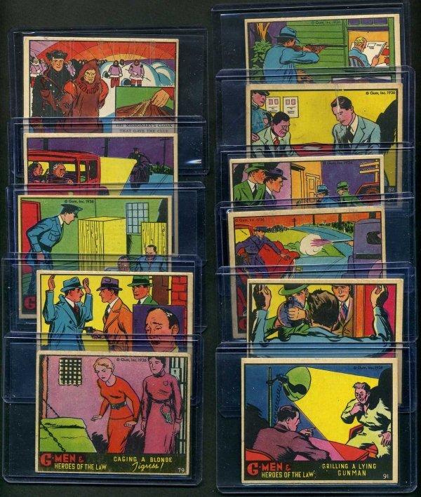 22: G-MEN 1936 GUM INC. LOT OF 11 CARDS.