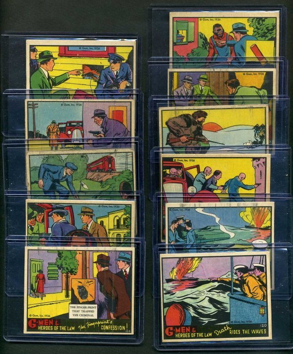 23: G-MEN 1936 GUM INC. LOT OF 11 CARDS.