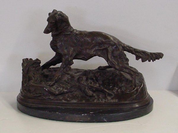 1012: BRONZE DOG. SIGNED MENE.